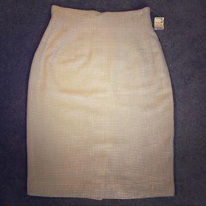 Vintage NOS Blue gray gingham pencil skirt xs